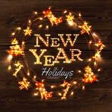 Manifesto della ghirlanda della corona del nuovo anno Immagine Stock