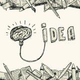 Manifesto della lampada del cervello Fotografie Stock Libere da Diritti