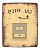 Manifesto della latta di tempo del caffè Immagini Stock Libere da Diritti