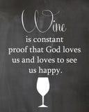 Manifesto della lavagna circa il consumo di vino Fotografie Stock