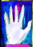 Manifesto della mano sul partito di Helloween Halloween Illustrazione al neon di Wattercolor sullo zombie della discoteca, sui mo illustrazione vettoriale