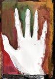 Manifesto della mano sul partito di Helloween Halloween Illustrazione al neon di Wattercolor sullo zombie della discoteca, sui mo illustrazione di stock