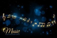 Manifesto della nota di musica Fondo musicale, turbine delle note musicali Album di jazz, annuncio classico di concerto della sin illustrazione di stock