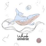Manifesto della parete dell'universo della balena Decorazione moderna dello spazio con il fondo enorme di vettore degli animali d illustrazione vettoriale