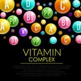 Manifesto della pillola 3d della vitamina per progettazione di sanità Fotografie Stock Libere da Diritti
