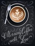 Manifesto della tazza di caffè con la citazione dell'iscrizione Fotografia Stock Libera da Diritti