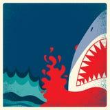 Manifesto delle mandibole dello squalo Fondo del pericolo di vettore Fotografia Stock