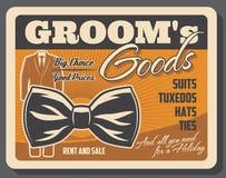 Manifesto delle merci dello sposo retro con lo smoking e la cravatta a farfalla illustrazione vettoriale