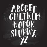 Manifesto di alfabeto, stampa moderna artistica di calligrafia dell'inchiostro asciutto della spazzola Progettazione d'avanguardi Immagini Stock