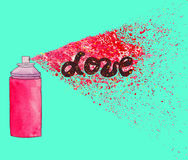 Manifesto di amore Illustrazione di arte della via dei graffiti con lo splashe della pittura Immagini Stock