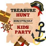 Manifesto di annuncio del partito dei bambini dei pirati illustrazione di stock