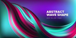 Manifesto di Art Brush Painted Abstract Wave illustrazione di stock