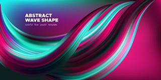 Manifesto di Art Brush Painted Abstract Wave illustrazione vettoriale