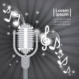 Manifesto di Art Style Modern Musical Concert di schiocco di Live Music Microphone Banner Colorful illustrazione vettoriale