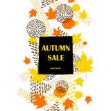 Manifesto di autunno Fondo con le foglie di acero variopinte, geome di vendita Fotografie Stock Libere da Diritti
