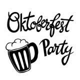 Manifesto di Beerfest con il ` scritto a mano del partito di Oktoberfest del ` di citazione Fotografie Stock