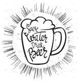 Manifesto di Beerfest con il ` scritto a mano della birra della bevanda dell'acqua di risparmi del ` di citazione Fotografia Stock Libera da Diritti