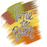 Manifesto di Beerfest con tempo scritto a mano del ` di citazione al ` della birra Immagini Stock Libere da Diritti