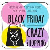 Manifesto di Black Friday con il modello di progettazione di citazione Insegna variopinta di Black Friday Vettore pazzesco Fotografie Stock
