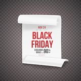 Manifesto di Black Friday Modello realistico del rotolo della carta di vettore isolato su fondo trasparente Fotografia Stock