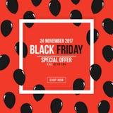 Manifesto di Black Friday Struttura bianca quadrata con i palloni neri per annunciare Vendita di Black Friday, modello dell'inseg Fotografia Stock