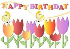 Manifesto di buon compleanno con i fiori variopinti e le farfalle, vettore di ENV 10 Immagine Stock Libera da Diritti