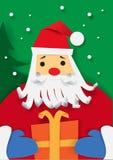 Manifesto di Buon Natale Il Babbo Natale con il contenitore di regalo Illustrazione di vettore Fotografia Stock Libera da Diritti