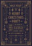 Manifesto di Buon Natale per il partito con la linea colore di art deco del giocattolo del nuovo anno dell'oro di stile Immagini Stock