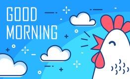 Manifesto di buongiorno con le nuvole e gallo su fondo blu Linea sottile progettazione piana Vettore Fotografie Stock