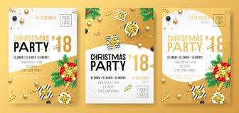 Manifesto di celebrazione del partito di vacanza invernale di Natale o carta dell'invito del presente dorato del regalo dell'oro