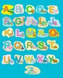 Manifesto di colore dei bambini di ABC degli animali del bambino di alfabeto Immagini Stock
