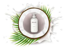 Manifesto di concetto per crema naturale organica fotografia stock