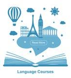 Manifesto di corsi di lingue Immagine Stock Libera da Diritti