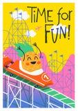 Manifesto di divertimento di estate con la guida del carattere dell'ananas in montagne russe Immagine Stock
