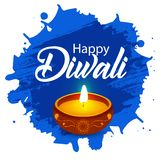 Manifesto di Diwali, intestazione, insegna o progettazione felice della cartolina d'auguri illustrazione vettoriale