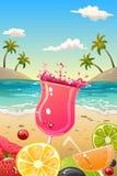 Manifesto di estate con frutta fresca e le bevande Fotografia Stock