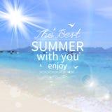 Manifesto di estate con il mare, sole. Vettore Fotografie Stock Libere da Diritti