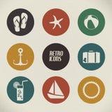 Manifesto di estate di vettore fatto dalle icone Fotografia Stock