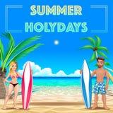 Manifesto di estate per le feste con i surfisti ed il mare Fotografie Stock Libere da Diritti