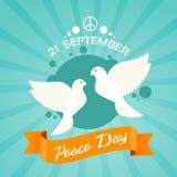 Manifesto di festa di giorno di pace di due colombe Immagini Stock Libere da Diritti