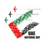 Manifesto di festa nazionale dei UAE con gli aerei che eseguono le acrobazie aeree illustrazione di stock