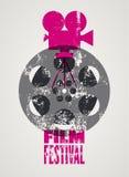 Manifesto di festival cinematografico Retro illustrazione tipografica di vettore di lerciume Immagine Stock