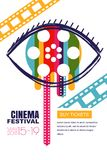 Manifesto di festival del cinema di vettore, insegna Occhio umano con la bobina di film in pupilla Biglietti di teatro di vendita Fotografia Stock