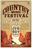 Manifesto di festival di musica country Aletta di filatoio del partito con gli stivali di cowboy Elemento di progettazione per il illustrazione di stock