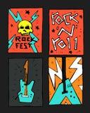 Manifesto di festival di musica rock Immagini Stock Libere da Diritti