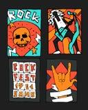 Manifesto di festival di musica rock Fotografie Stock