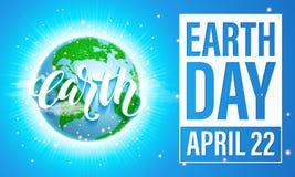 Manifesto di giornata per la Terra Illustrazione di vettore del eco verde del pianeta Fotografia Stock