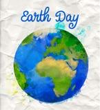 Manifesto di giorno di terra con il vettore del globo dell'acquerello royalty illustrazione gratis