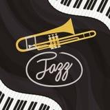Manifesto di giorno di jazz con la tastiera e la tromba di piano royalty illustrazione gratis