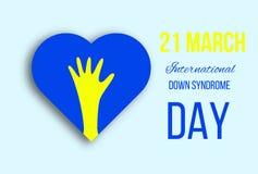 Manifesto di giorno di sindrome di Down con la mano ed il cuore fotografia stock libera da diritti